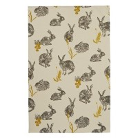 Block Print Rabbits Tea Towel