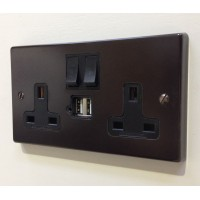 Double 13A Switched Socket with USB inserts - Brown  Square Edge