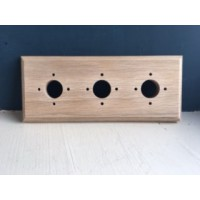 Pre - Drilled 'Bakelite' Switch Mounting Block - Natural Oak - Triple / 3 Gang