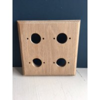 Pre - Drilled 'Bakelite' Switch Mounting Block  - Natural Oak - Quad / 4 Gang