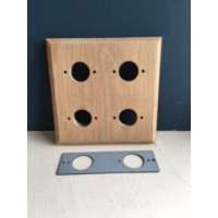 Pre - Drilled 'Bakelite' Switch Mounting Block & Adaptor Plate - Natural Oak - Quad / 4 Gang