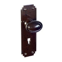 Stepped Oval Real Bakelite Door Knob - Art Deco Back Plate - With Keyhole - Pair