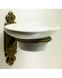 Classic Soap Dish Holder - Antique Brass with Ceramic Dish