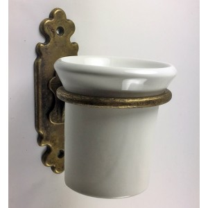 Classic Toothbrush Holder - Antique Brass with Ceramic Tumbler