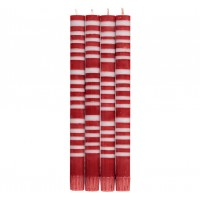 Classic Striped Dinner Candles - Guardsman Red & Gull Grey - Set/4