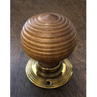 Beehive Door Knob - Short - Oak - Brass Collar & Rose - Mortice & Rim
