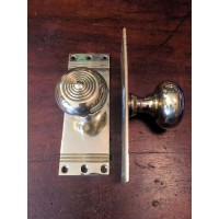 Beehive Door Knob on Back Plate - Brass - Mortice