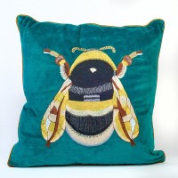 Velvet Bee Cushion - Purple, Green or Teal