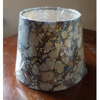 Hand Made Empire Shade - 20cm Diameter - Blue Marbled Paper