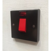 'Bakelite' 45A cooker switch - Single Plate - Square Edge