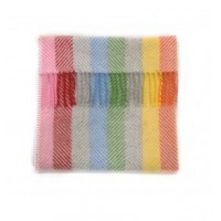 Pure New Wool Pram Blanket with Blanket Stitch Edge - Rainbow Stripe