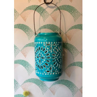 Moroccan Cut-Out Lantern - Turquoise