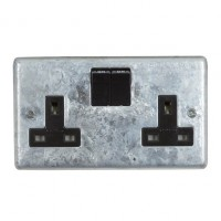 Galvanised Double 13A Switched Socket - Black
