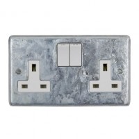 Galvanised Double 13A Switched Socket - White