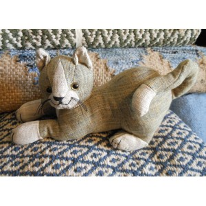 Animal Doorstop - Khaki Tabby Cat