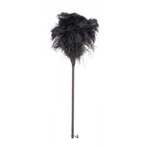Ostrich Feather Duster - Thermowood Handle - 80cm - Black Feathers