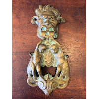 Gothic Head & Putti Door Knocker - Aged Brass - Reclaimed