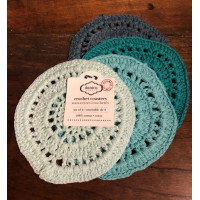 Round - Shades of Green Crocheted Coasters – Set/4