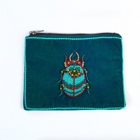 Beetle Velvet Purse - Handed Beaded - Teal - Small