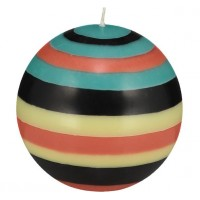 Large Striped Ball Eco Candle - Honey Bird Blue, Jet Black, Jasmine & Rust