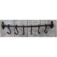 Hook Rail with 6 x 'S' Hooks - Antique Iron