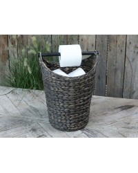 Basket style Toilet Roll Holder with Storage - Dark
