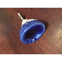 Organic Glazed Cupboard Knob - Blue