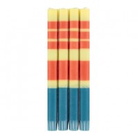 Classic Striped Dinner Candles - Jasmine, Rust & Petrol Blue - Set/4