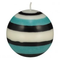 Small Striped Ball Eco Candle – Jet Black, Pearl White & Honey Bird Blue