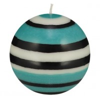 Large Striped Ball Eco Candle - Jet, Pearl & Honey Bird Blue