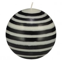 Large Striped Ball Eco Candle - Jet Black & Pearl White