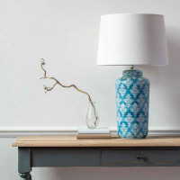 Chinoiserie Patterned Lamp Base with White Shade - COLLECTION FROM STORE ONLY