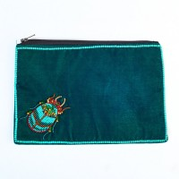 Beetle Velvet Purse - Handed Beaded - Teal - Large
