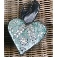 Embroidered Velvet Heart Decoration – Sage Green - Large
