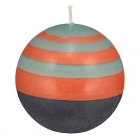 Small Striped Ball Eco Candle - Marigold, Gunmetal & Opaline