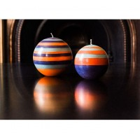 Large Striped Ball Eco Candle - Marigold, Gunmetal & Opaline
