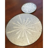 Etched Star Glass Mirror Plate - Antique Finish - Large