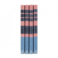 Classic Striped Dinner Candles - Old Rose, Indigo & Pompadour - Set/4
