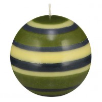 Large Striped Ball Eco Candle - Olive, Indigo & Jasmine