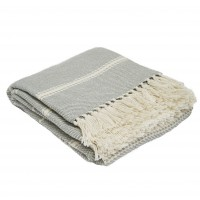 Weaver Green Oxford Stripe Blanket - Dove Grey