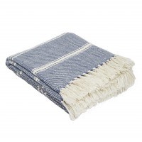 Weaver Green Oxford Stripe Blanket - Navy