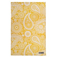 Mini Moderns - Paisley Crescent Mustard Cotton Tea Towel