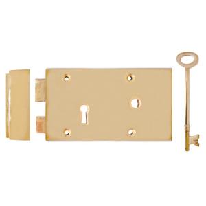 "Solid Brass Rim Lock 5"" x 3 1/8"""