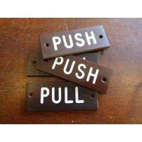 Bakelite Push & Pull Signs - SOLD
