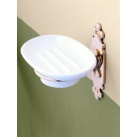 Classic Soap Dish Holder - Brass & Ceramic Dish
