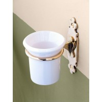 Classic Tooth Brush Holder - Polished Brass with Ceramic Tumbler