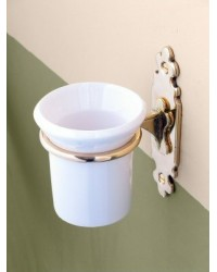 Classic Tooth Brush Holder - Brass with Ceramic Tumbler