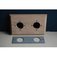Pre - Drilled 'Bakelite' Switch Mounting Block & Adaptor Plate - Natural Oak - Double / 2 Gang