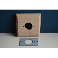 Pre - Drilled 'Bakelite' Switch Mounting Block & Adaptor Plate - Natural Oak - Single / 1 Gang