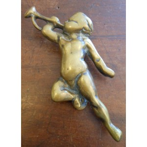 Reclaimed Brass Cherub Trumpeter - Door Knocker
